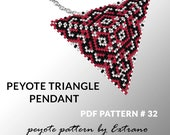 Peyote triangle pattern with instruction, peyote triangle instruction, triangle peyote pattern, native stitch, triangle peyote pendant #32
