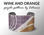 Peyote Bracelet Patterns, Peyote Pattern, Bracelet Pattern, Even peyote pattern, DIY jewelry - WINE & ORANGE - 4 colors - Instant download
