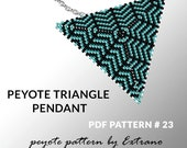 Peyote triangle pattern with instruction, peyote triangle instruction, triangle peyote pattern, native stitch, triangle peyote pendant #23