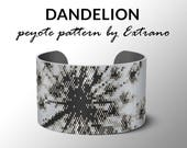 Peyote bracelet pattern, wide cuff pattern, even peyote stitch, peyote pattern, DIY jewelry - DANDELION - 4 colors only - Instant download