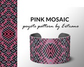 peyote bracelet pattern, peyote pattern, odd count, stitch pattern, pdf file, pdf pattern, 3 colors, beaded bracelet, PINK MOSAIC pattern