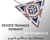 Triangle peyote pattern, peyote triangle pattern with instruction, peyote triangle how to, native stitch, red triangle peyote pendant #119