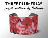 Peyote pattern, bracelet pattern, peyote bracelet, even peyote stitch pattern, delica pattern, 4 colors, instant download - THREE PLUMERIAS