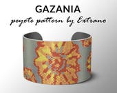 Peyote pattern bracelet, wide cuff pattern, even peyote stitch, peyote pattern, DIY jewelry - GAZANIA - 4 colors - 2 versions of pattern