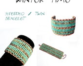 Bracelet tutorial, bracelet pattern, Superduo bracelet, superduo tutorial, DIY jewelry, wide cuff pattern, beading tutorial - STRIPED BANGLE