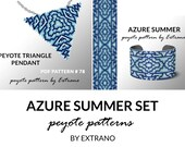 Bracelet with pendant pattern, peyote tutorial, uneven peyote pattern, triangle peyote pattern, pattern for beaded set AZURE SUMMER set
