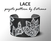 Peyote bracelet pattern, wide cuff pattern, even peyote stitch, peyote pattern, DIY jewelry - LACE - 4 colors only - Instant download