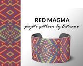 Peyote bracelet pattern, native peyote pattern,  native american, even peyote pattern, native stitch pattern beaded bracelet RED MAGMA