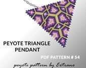 Peyote triangle pattern with instruction, peyote triangle instruction, triangle peyote pattern, native stitch, triangle peyote pendant #54