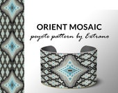 Peyote bracelet pattern, wide cuff pattern, even peyote stitch, odd peyote pattern - ORIENT MOSAIC  - 5 colors only - Instant download