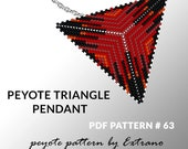 Triangle peyote pattern, peyote triangle pattern with instruction, peyote triangle how to, native stitch, red triangle peyote pendant #63
