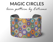 Bead Loom Pattern, Loom Tutorial, Beading Pattern, Loom Beading Pattern, Bracelet Tutorial, Bracelet Pattern, Loom Pattern - MAGIC CIRCLES