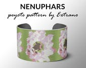 Bracelet peyote pattern, peyote bracelet, even peyote stitch pattern, wide cuff pattern - NENUPHARS - 5 colors - Instant download