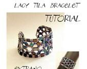 Bracelet tutorial, wide cuff pattern, bracelet pattern, Tila bracelet, Tila beads tutorial, DIY jewelry, beading tutorial - LACY TILA, pdf