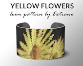 Bead Loom Pattern, Loom Tutorial, Beading Pattern, Loom Beading Pattern, Bracelet Tutorial, Bracelet Pattern, Loom Pattern - YELLOW FLOWERS