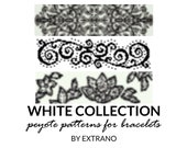 Peyote bracelet patterns, even peyote pattern, abstract peyote pattern, native american jewelry, bracelet  pdf pattern WHITE COLLECTION