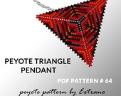 Triangle peyote pattern, peyote triangle pattern with instruction, peyote triangle how to, native stitch, red triangle peyote pendant #64