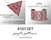 Bracelet with pendant pattern, peyote tutorial, uneven peyote pattern, triangle peyote pattern, pattern for beaded set, peyote set #101