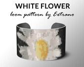 Bead Loom Pattern, Loom Tutorial, Beading Pattern, Loom Beading Pattern, Bracelet Tutorial, Bracelet Pattern, Loom Pattern - WHITE FLOWER