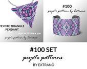 Bracelet with pendant pattern, peyote tutorial, uneven peyote pattern, triangle peyote pattern, pattern for beaded set, peyote set #100