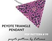 Peyote triangle pattern with instruction, native peyote pattern, native american pattern, native stitch, triangle peyote pendant #99