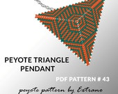 Peyote triangle pattern with instruction, native peyote pattern, native american pattern, native stitch, triangle peyote pendant #43