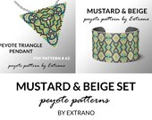 Bracelet with pendant pattern, peyote tutorial, uneven peyote pattern, triangle peyote pattern, pattern for beaded set MUSTARD & BEIGE