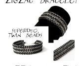 Bracelet tutorial, bracelet pattern, Superduo bracelet, superduo tutorial, DIY jewelry, beading tutorial - ZIC ZAC Bracelet - pdf pattern