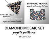 Bracelet with pendant pattern, peyote tutorial, uneven peyote pattern, triangle peyote pattern, pattern for beaded set DIAMOND peyote set