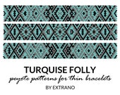 Peyote bracelet patterns, thin bracelet patterns, uneven peyote stitch, peyote pattern, native american bracelets patterns - TURQUISE FOLLY