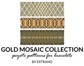 Peyote bracelet patterns, uneven peyote pattern, abstract peyote pattern, native american peyote pattern pdf tutorial GOLD MOSAIC COLLECTION
