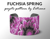 Peyote bracelet pattern, uneven peyote pattern, mosaic peyote pattern, peyote pattern, DIY jewelry FUCHSIA SPRING 6 colors, Instant download