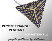 Peyote triangle pattern with instruction, peyote triangle instruction, triangle peyote pattern, native stitch, triangle peyote pendant #10