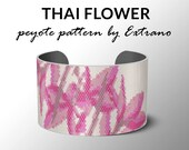 Bracelet peyote pattern, peyote bracelet, even peyote stitch pattern, flower pattern - THAI FLOWER - 5 colors - Instant download