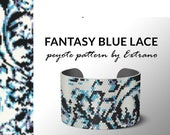Peyote bracelet pattern, wide cuff pattern, even peyote stitch, peyote pattern, diy jewelry pattern, even peyote FANTASY BLUE LACE 5 colors
