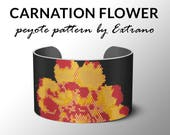 Peyote bracelet pattern, wide cuff pattern, even peyote stitch, peyote pattern, DIY jewelry - CARNATION FLOWER - 6 colors Instant download
