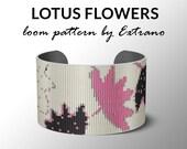 Bead Loom Pattern, Loom Tutorial, Beading Pattern, Loom Beading Pattern, Bracelet Tutorial, Bracelet Pattern, Loom Pattern - LOTUS FLOWERS