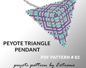 Triangle peyote pattern, peyote triangle pattern with instruction, peyote triangle how to, native stitch, red triangle peyote pendant #82
