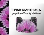 peyote bracelet pattern, peyote pattern, odd count, stitch pattern, pdf file, pdf pattern, 3 colors, beaded bracelet, 3 PINK DIANTHUSES