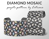 Bracelet peyote pattern, peyote bracelet, uneven peyote stitch pattern, delica pattern, DIAMOND MOSAIC - 9 colors, Instant download