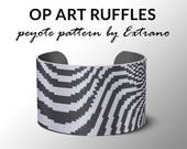 Peyote pattern bracelet, wide cuff pattern, even peyote stitch, peyote pattern, DIY jewelry - OpArt RUFFLES - 2 colors - Instant download
