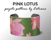 Peyote bracelet pattern, wide cuff pattern, even peyote stitch, peyote pattern, DIY jewelry - PINK LOTUS  - 5 colors only - Instant download
