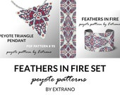 Bracelet with pendant pattern, peyote tutorial, uneven peyote pattern, triangle peyote pattern, pattern for red beaded set FEATHErS IN FIRE