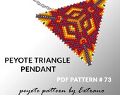 Peyote triangle pattern with instruction, peyote triangle instruction, triangle peyote pattern, native stitch, triangle peyote pendant #73