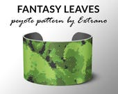 Peyote pattern bracelet, wide cuff pattern, even peyote stitch, peyote pattern, DIY jewelry - FANTASY LEAVES - 4 colors only - pdf file