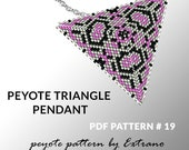Peyote triangle pattern with instruction, peyote triangle instruction, triangle peyote pattern, native stitch, triangle peyote pendant #19