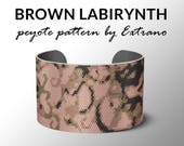 Peyote Bracelet Patterns by Extrano - BROWN LABIRYNTH - 4 colors ONLY - instant download
