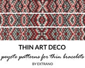 Peyote bracelet patterns, thin bracelet patterns, uneven peyote stitch, peyote pattern, native american bracelets - THIN ART DECO