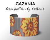 Bead Loom Pattern, Loom Tutorial, Beading Pattern, Loom Beading Pattern, Bracelet Tutorial, Bracelet Pattern, Loom Pattern - GAZANIA