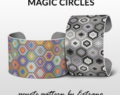 Peyote bracelet pattern, peyote patterns for wide bracelets, wide cuff pattern, uneven peyote stitch, peyote stitch  jewelry - MAGIC CIRCLES
